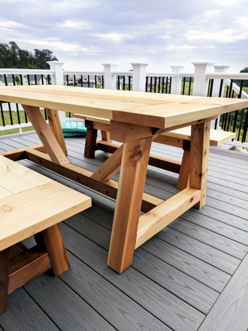 DIY- Farmhouse table build, truss beam table, outdoor table, woodworking project, table construction, how to build an outdoor farmhouse table, Ana White plans, Restoration Hardware inspired, knockoff, farmhouse truss table assembled with matching benches