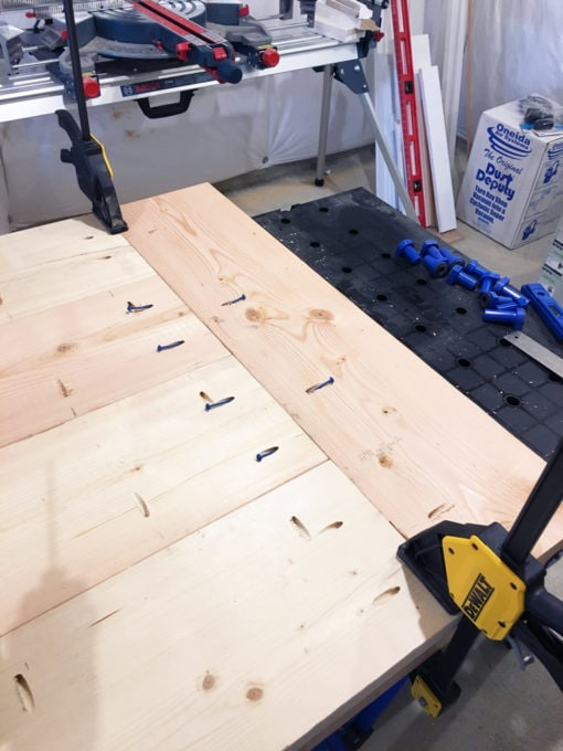 DIY- Farmhouse table build, truss beam table, outdoor table, woodworking project, table construction, how to build an outdoor farmhouse table, Ana White plans, Restoration Hardware inspired, knockoff, pocket hole, kreg jig, clamped table top