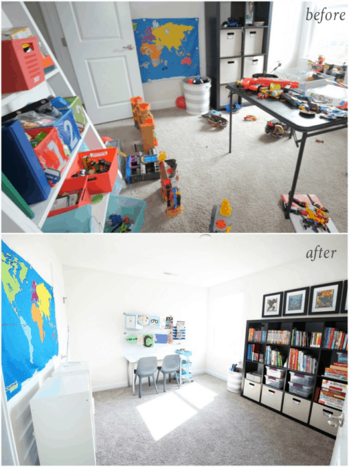 Home Organization- How to Declutter Kids' Toys and an Organized Playroom Tour, kids organization, playroom organization, organized playroom, organized toy room, toy room organization, decluttering toys, purging toys, purge, declutter, toy organization ideas, organizing with children, before and after