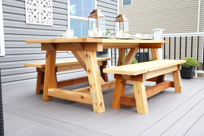 Home- Our Backyard Deck Reveal with AZEK Building Products, outdoor decor, building a deck, deck decor, outdoor styling, deck design, decking, Ryan Homes Palermo, deck inspiration, outdoor inspiration, outdoor furniture, railings and balusters, farmhouse table, DIY table, DIY wooden benches
