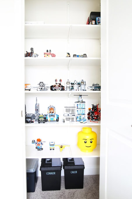 Home Organization- My Top 10 Favorite Organizing Items from IKEA, kitchen organization, craft room organization, office organization, organized, declutter, decluttering, minimalist, minimalism, ALGOT Closet System for Lego Display in Playroom Closet
