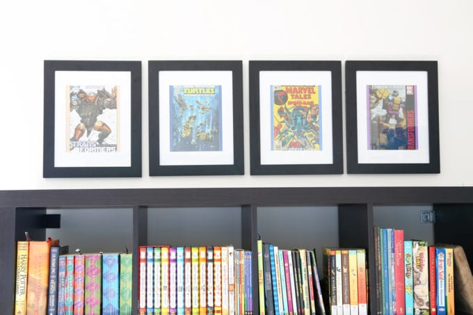 Home Organization- How to Declutter Kids' Toys and an Organized Playroom Tour, kids organization, playroom organization, organized playroom, organized toy room, toy room organization, decluttering toys, purging toys, purge, declutter, toy organization ideas, organizing with children, comic book art