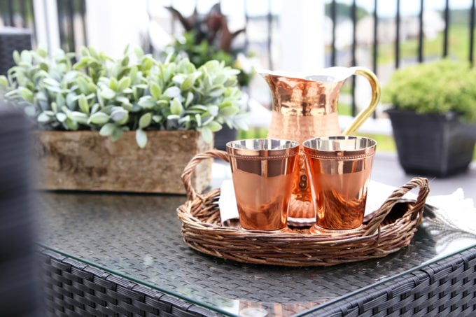Home- Our Backyard Deck Reveal with AZEK Building Products, outdoor decor, building a deck, deck decor, outdoor styling, deck design, decking, Ryan Homes Palermo, deck inspiration, outdoor inspiration, copper lanterns, coffee table styling, copper pitcher