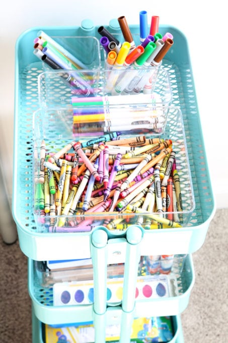 Home Organization- How to Declutter Kids' Toys and an Organized Playroom Tour, kids organization, playroom organization, organized playroom, organized toy room, toy room organization, decluttering toys, purging toys, purge, declutter, toy organization ideas, organizing with children, rolling art cart, organized craft supplies