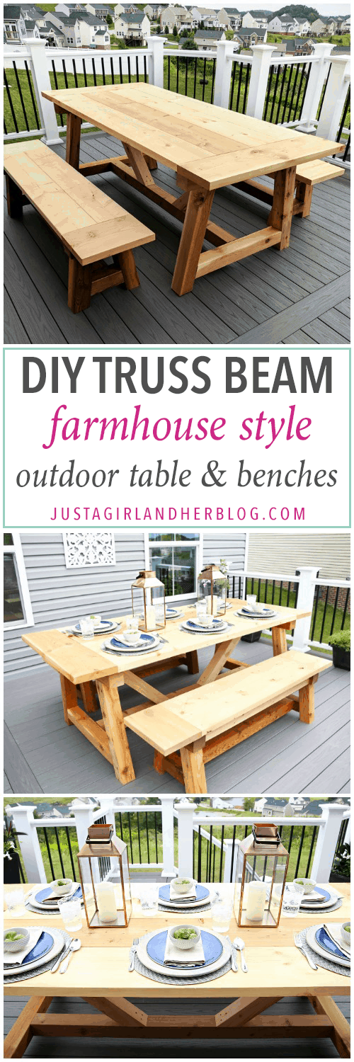 DIY Truss Beam Farmhouse Style Outdoor Table and Benches, DIY- Farmhouse table build, truss beam table, outdoor table, woodworking project, table construction, how to build an outdoor farmhouse table, Ana White plans, Restoration Hardware inspired, knockoff, farmhouse truss table assembled with matching benches, cedar and pine, table and AZEK deck