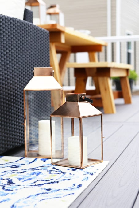 Home- Our Backyard Deck Reveal with AZEK Building Products, outdoor decor, building a deck, deck decor, outdoor styling, deck design, decking, Ryan Homes Palermo, deck inspiration, outdoor inspiration, copper lanterns