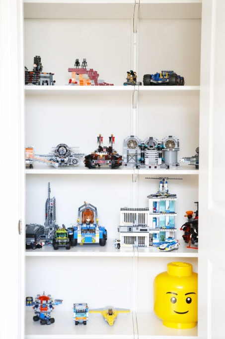 Home Organization- How to Declutter Kids' Toys and an Organized Playroom Tour, kids organization, playroom organization, organized playroom, organized toy room, toy room organization, decluttering toys, purging toys, purge, declutter, toy organization ideas, organizing with children, Lego display closet detail