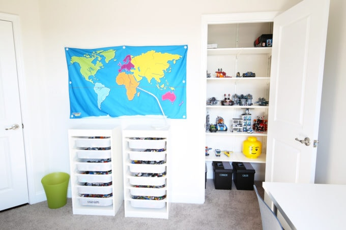 Home Organization- How to Declutter Kids' Toys and an Organized Playroom Tour, kids organization, playroom organization, organized playroom, organized toy room, toy room organization, decluttering toys, purging toys, purge, declutter, toy organization ideas, organizing with children, rolling art cart, Lego storage