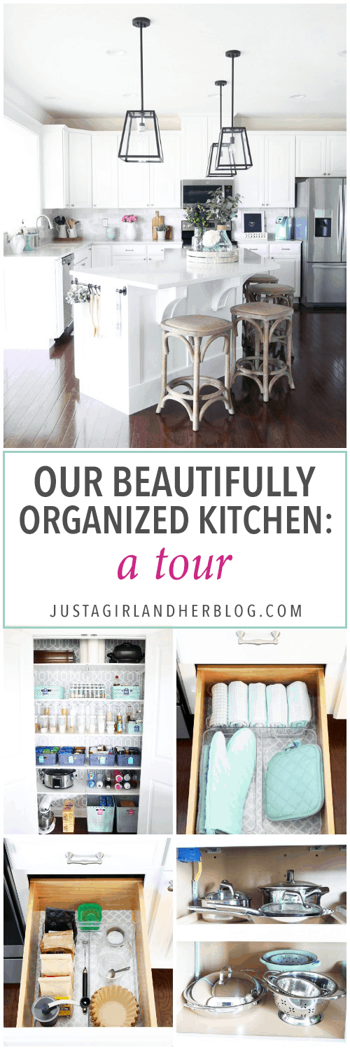 Home Organization- This organized kitchen tour is packed full of ideas to help declutter your kitchen and keep it neat and tidy, coffee station, organized plates, organized pots and pans, bakeware organization, organized paper products, drawer liner, kitchen organization, pantry organization, refrigerator organization, organized kitchen island, beautifully organized kitchen tour