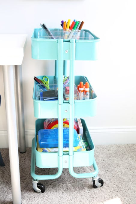 Home Organization- How to Declutter Kids' Toys and an Organized Playroom Tour, kids organization, playroom organization, organized playroom, organized toy room, toy room organization, decluttering toys, purging toys, purge, declutter, toy organization ideas, organizing with children, rolling art cart