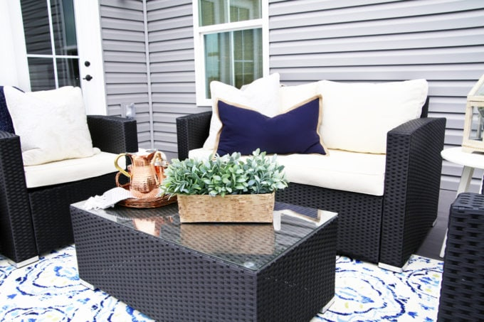 Home- Our Backyard Deck Reveal with AZEK Building Products, outdoor decor, building a deck, deck decor, outdoor styling, deck design, decking, Ryan Homes Palermo, deck inspiration, outdoor inspiration, copper lanterns, coffee table styling