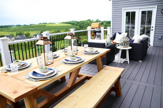 Home- Our Backyard Deck Reveal with AZEK Building Products, outdoor decor, building a deck, deck decor, outdoor styling, deck design, decking, Ryan Homes Palermo, deck inspiration, outdoor inspiration, outdoor furniture, farmhouse table, deck with a view