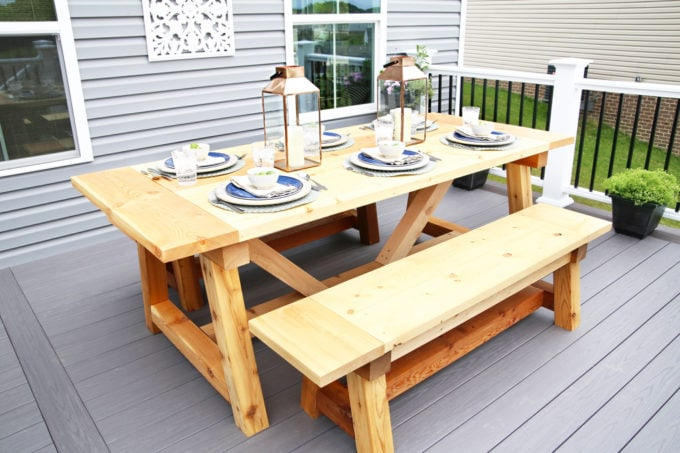 DIY- Farmhouse table build, truss beam table, outdoor table, woodworking project, table construction, how to build an outdoor farmhouse table, Ana White plans, Restoration Hardware inspired, knockoff, farmhouse truss table assembled with matching benches, cedar and pine, table and AZEK deck, tablescape