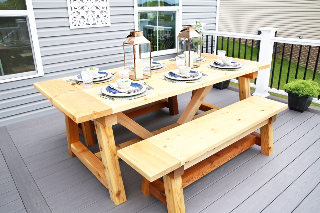 diy outdoor farmhouse table. DIY- Farmhouse Table Build, Truss Beam Table, Outdoor Woodworking Project, Construction, How To Build An Ana White Diy
