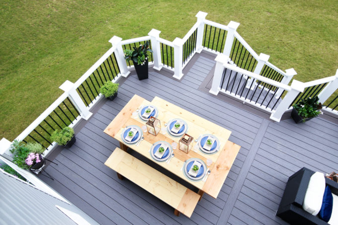 Home- Our Backyard Deck Reveal with AZEK Building Products, outdoor decor, building a deck, deck decor, outdoor styling, deck design, decking, Ryan Homes Palermo, deck inspiration, outdoor inspiration, outdoor furniture, railings and balusters, farmhouse table, DIY table
