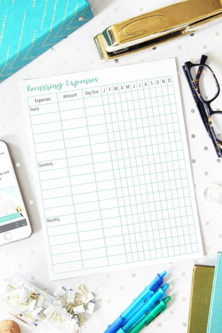 recurring expenses page for budget binder printables
