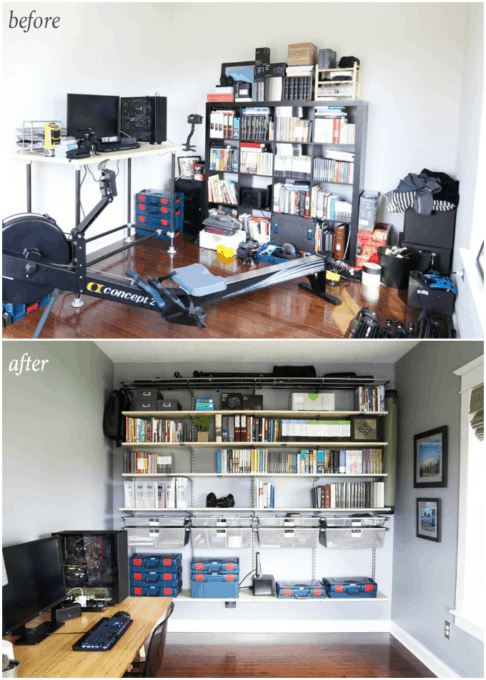 Home Organization- Organized and Masculine Home Office Reveal, man cave, office organization, The Container Store, Elfa, built in shelves, POANG, IKEA, standing desk, window trim, manly office, room makeover, room reveal, Elfa sand and platinum shelving, masculine office space, before and after