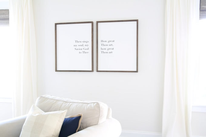 DIY- Large DIY Framed Canvas Art, DIY Art, DIY wall decor, How Great Though Art, hymn art, canvases, what to put on a big blank wall, inexpensive art, Silhouette Cameo cutting machine, final canvas art
