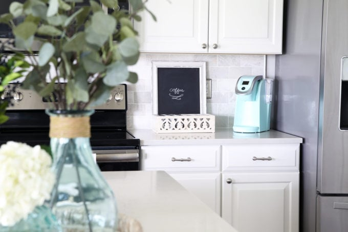 Home Organization- Beautifully Organized Coffee Station, Smoothie Station, kitchen organization, organized kitchen, coffee bar, coffee cabinet, smoothie bar, smoothie cabinet, InterDesign, organizing, acrylic containers, declutter, decluttering, neat and tidy kitchen, keurig, coffee corner