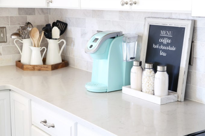 Home Organization- Beautifully Organized Coffee Station, Smoothie Station, kitchen organization, organized kitchen, coffee bar, coffee cabinet, smoothie bar, smoothie cabinet, InterDesign, organizing, acrylic containers, declutter, decluttering, neat and tidy kitchen, keurig, kitchen counter