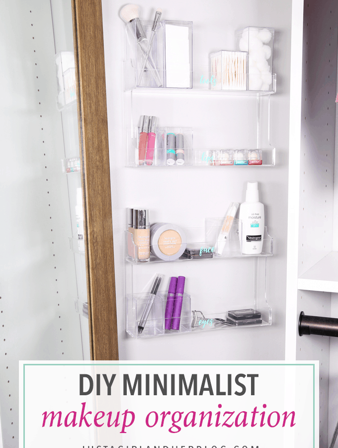 Home Organization- DIY Minimalist Makeup Organization, organizing, organized makeup, beauty organization, decluttering, minimal, simple makeup organization, spice rack, the container store, organization hack, acrylic organizers