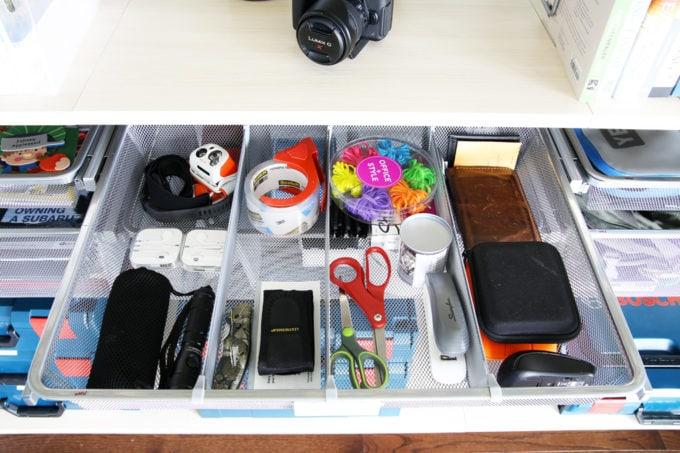 Home Organization- Organized and Masculine Home Office Reveal, man cave, office organization, The Container Store, Elfa, built in shelves, POANG, IKEA, standing desk, window trim, manly office, room makeover, room reveal, Elfa sand and platinum shelving and drawers, mesh drawer with dividers