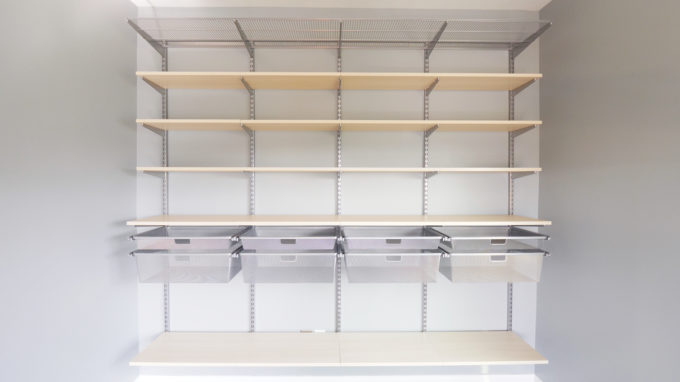 DIY- How to Install the Elfa System from The Container Store, organized home office, masculine office, organization, custom shelving, shelf installation, storage solution, Elfa components, mesh drawers, melamine shelves installed