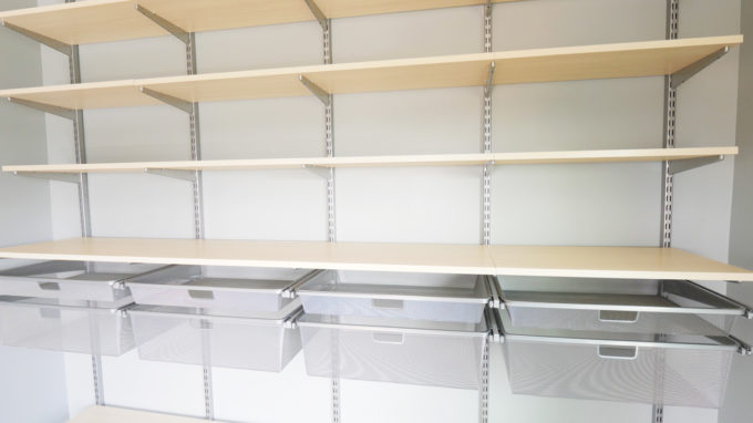 DIY- How to Install the Elfa System from The Container Store, organized home office, masculine office, organization, custom shelving, shelf installation, storage solution, Elfa components, mesh drawers installed, finished shelves detail