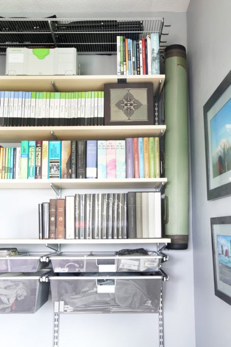 Home Organization- Organized and Masculine Home Office Reveal, man cave, office organization, The Container Store, Elfa, built in shelves, POANG, IKEA, standing desk, window trim, manly office, room makeover, room reveal, Elfa sand and platinum shelving, fly fishing rod storage from hooks