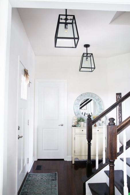 Home- Kitchen island pendant lights, hallway pendant lights, lanterns, changing light fixtures, kitchen lighting, hallway lighting, design mistakes, glass pendant lights, hallway with lantern pendant lighting, foyer, entryway