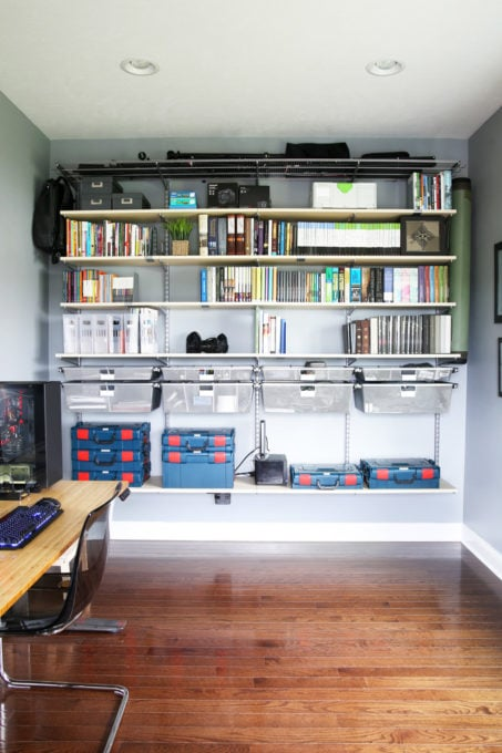 Home Organization- Organized and Masculine Home Office Reveal, man cave, office organization, The Container Store, Elfa, built in shelves, POANG, IKEA, standing desk, window trim, manly office, room makeover, room reveal, Elfa sand and platinum shelving and drawers