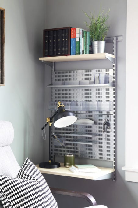 Home Organization- Organized and Masculine Home Office Reveal, man cave, office organization, The Container Store, Elfa, built in shelves, POANG, IKEA, standing desk, window trim, manly office, room makeover, room reveal, Elfa utility grate