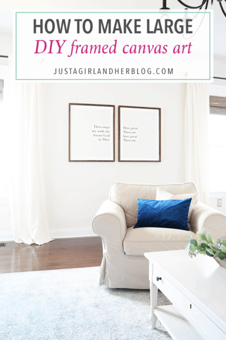 How to Make Large DIY Framed Canvas Art - Just a Girl and Her Blog