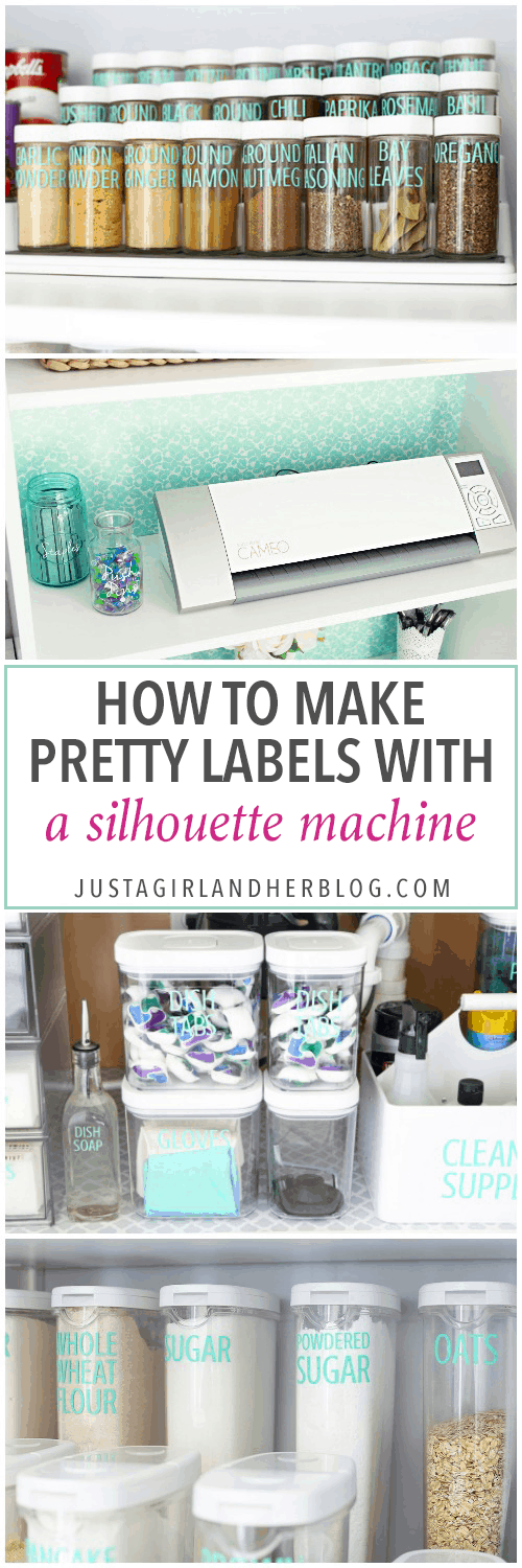 Home Organization, Crafts- How to Make Pretty Labels with a Silhouette Machine, Silhouette Cameo, Silhouette Portrait, organization, organizing, organize, labels, vinyl, adhesive vinyl, sticker labels, making labels