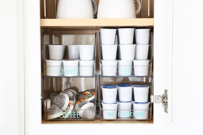 Home Organization- Beautifully Organized Coffee Station, Smoothie Station, kitchen organization, organized kitchen, coffee bar, coffee cabinet, smoothie bar, smoothie cabinet, InterDesign, organizing, acrylic containers, declutter, decluttering, neat and tidy kitchen, kcup storage, stacked bins