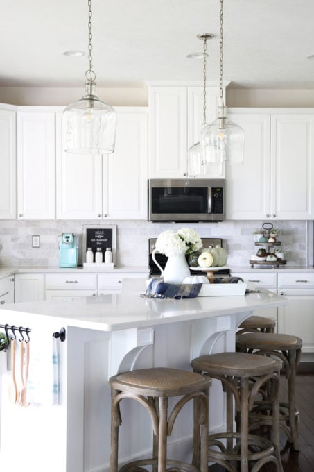 White Kitchen Lighting Our big light swap just a girl and her blog home kitchen island pendant lights hallway pendant lights lanterns changing light fixtures workwithnaturefo