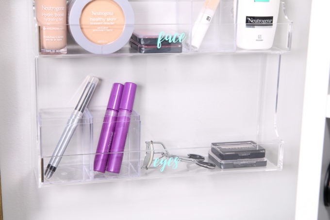 Home Organization- DIY Minimalist Makeup Organization, organizing, organized makeup, beauty organization, decluttering, minimal, simple makeup organization, spice rack, the container store, organization hack, acrylic organizers, makeup placed in spice rack organizer, organized eyeliner, mascara, eyelash curler, and eye shadow