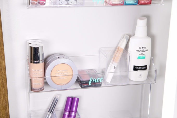 Home Organization- DIY Minimalist Makeup Organization, organizing, organized makeup, beauty organization, decluttering, minimal, simple makeup organization, spice rack, the container store, organization hack, acrylic organizers, makeup placed in spice rack organizer, organized blush, moisturizer, concealer, foundation