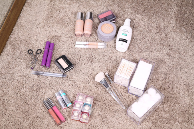 Home Organization- DIY Minimalist Makeup Organization, organizing, organized makeup, beauty organization, decluttering, minimal, simple makeup organization, spice rack, the container store, organization hack, acrylic organizers, makeup divided by type