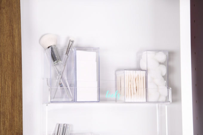 Home Organization- DIY Minimalist Makeup Organization, organizing, organized makeup, beauty organization, decluttering, minimal, simple makeup organization, spice rack, the container store, organization hack, acrylic organizers, makeup placed in spice rack organizer, organized makeup tools