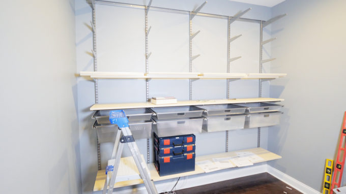 DIY- How to Install the Elfa System from The Container Store, organized home office, masculine office, organization, custom shelving, shelf installation, storage solution, Elfa components, mesh drawers, melamine shelves