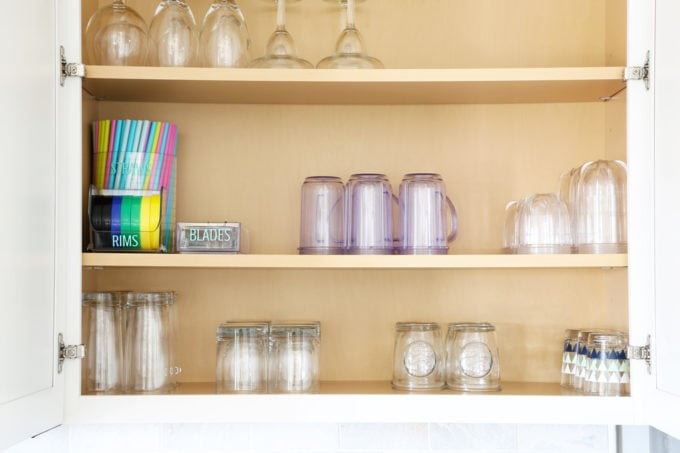 Home Organization- Beautifully Organized Coffee Station, Smoothie Station, kitchen organization, organized kitchen, coffee bar, coffee cabinet, smoothie bar, smoothie cabinet, InterDesign, organizing, acrylic containers, declutter, decluttering, neat and tidy kitchen, storing smoothie supplies in a kitchen cabinet