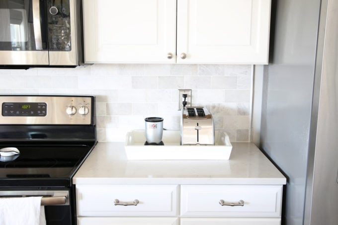 Home Organization- Beautifully Organized Coffee Station, Smoothie Station, kitchen organization, organized kitchen, coffee bar, coffee cabinet, smoothie bar, smoothie cabinet, InterDesign, organizing, acrylic containers, declutter, decluttering, neat and tidy kitchen, storing smoothie supplies