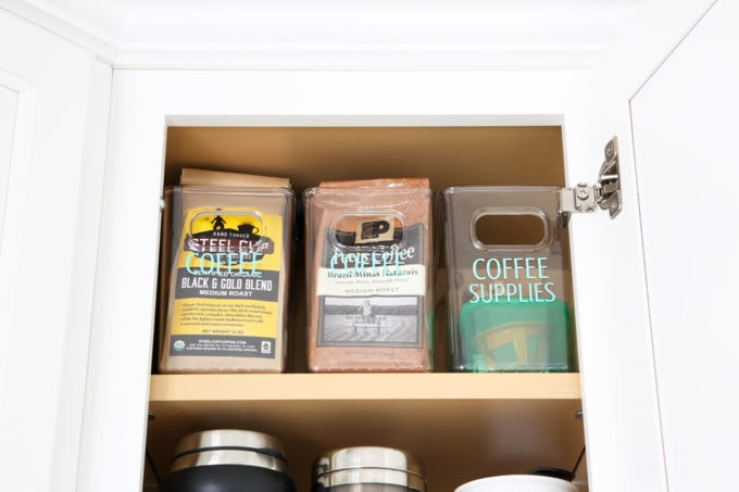 Home Organization- Beautifully Organized Coffee Station, Smoothie Station, kitchen organization, organized kitchen, coffee bar, coffee cabinet, smoothie bar, smoothie cabinet, InterDesign, organizing, acrylic containers, declutter, decluttering, neat and tidy kitchen, bags of coffee storage