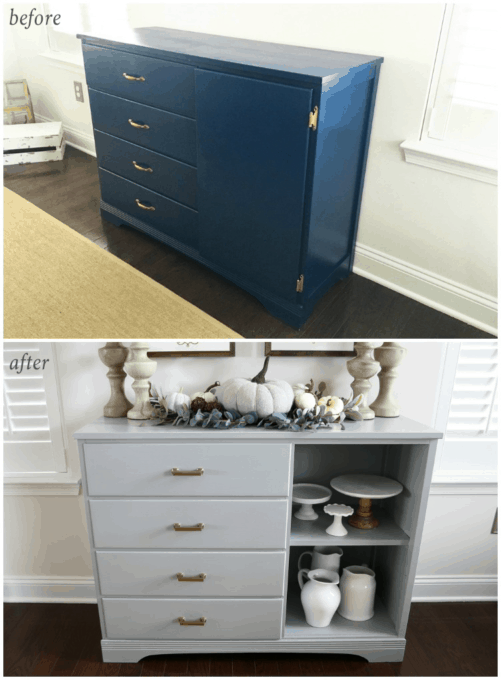 DIY- Dresser Turned Sideboard Buffet Makeover, painted furniture, furniture makeover, dining room decor, dresser upcycle, before and after, furniture transformation, thrifted find, finished sideboard decorated, buffet styling, fall decor, before and after shot