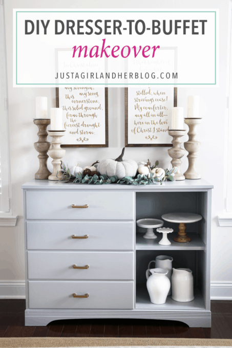 DIY- Dresser Turned Sideboard Buffet Makeover, painted furniture, furniture makeover, dining room decor, dresser upcycle, before and after, furniture transformation, thrifted find, finished sideboard decorated, buffet styling, fall decor, final shot