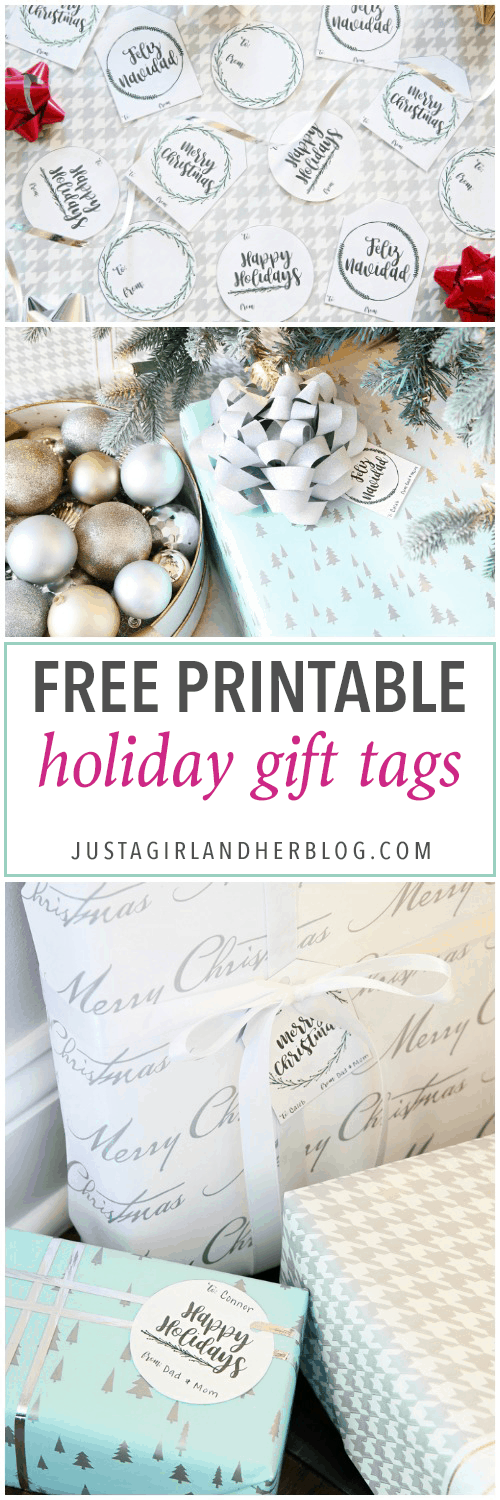 Holiday & Party- Free Printable Holiday Gift Tags, Christmas gift tags, pretty printables, free printables, printable tags, Feliz Navidad, Merry Christmas, Happy Holidays, neutral gift tag printables