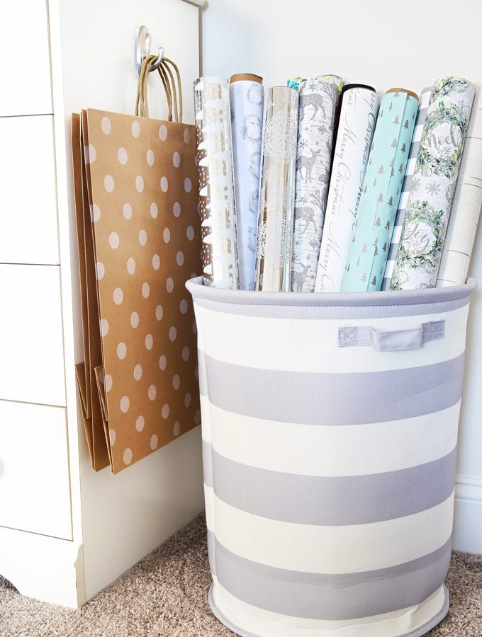 Home Organization- How to Create an Organized Gift Wrap Station, wrapping paper, wrapping station, holidays, Christmas presents, holiday gifts, bows, ribbon, gift bags, party supplies, wrapping paper storage