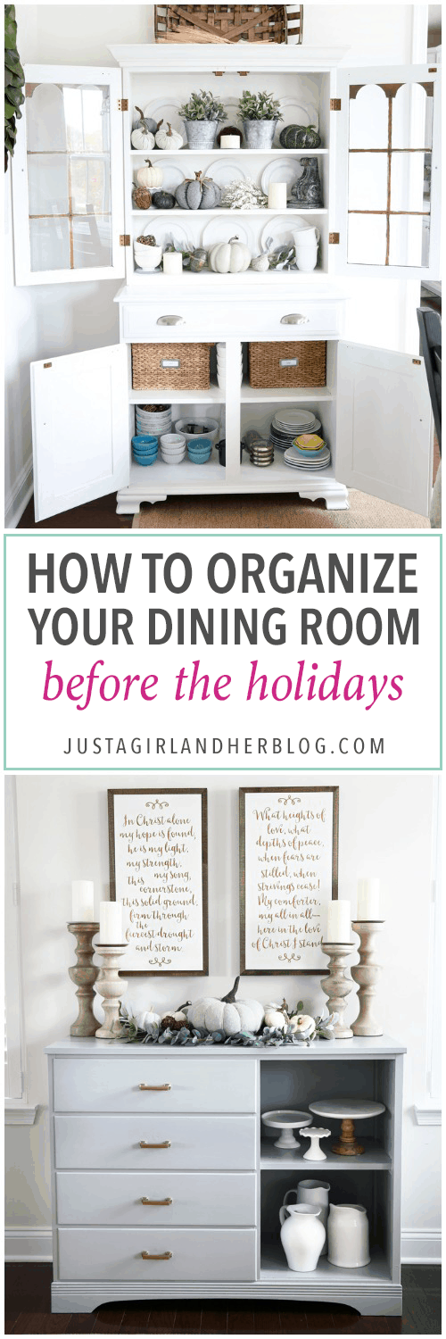 Home Organization- How to Organize Your Dining Room Before the Holidays, organized dining room, hutch organization, sideboard organization, organized buffet, dining room storage, free organization, organization on a budget, organized dining room tour video, Christmas, Thanksgiving