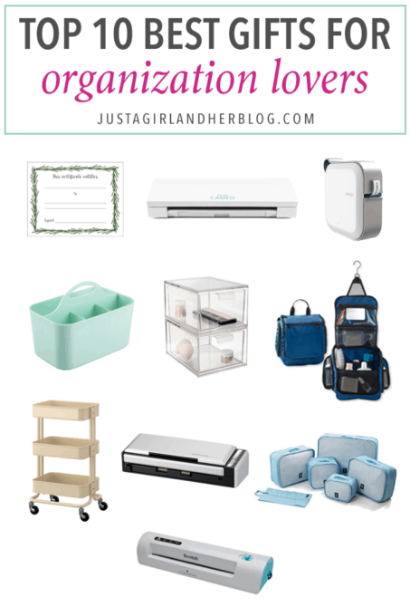 Home Organization- Top 10 Best Gifts for Organization Lovers, Organizing, gift guide, top gifts, get organized, organize your life, Silhouette Cameo cutting machine, DYMO MobileLabeler label maker, caddy, clear acrylic drawers, travel toiletry bag, RASKOG rolling cart, Fujitsu ScanSnap scanner, packing cubes, Scotch thermal laminator